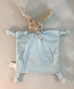 New Dandee Blue Tan Stripe Bow Bunny Baby Blanket Knotted Co