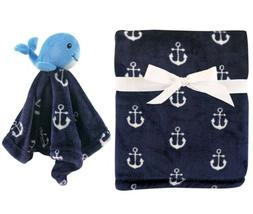 NEW HUDSON BABY BOY'S PLUSH BLANKET & SECURITY BLANKET SET 3