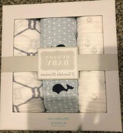 NEW Hudson Baby boy Swaddle Blanket Set