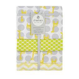 New Carter's 4-Pack Soft Flannel Yellow- Multi Giraffe Print