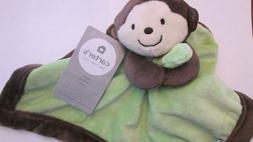 New Carter's Monkey Lovey Security Blanket Green Brown Velou