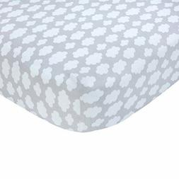 NEW Carter's Sateen Crib Sheet, Grey Cloud Print, One Size F