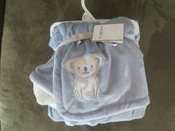 New Carter's soft cozy Baby Blanket, Baby Blue and white wit