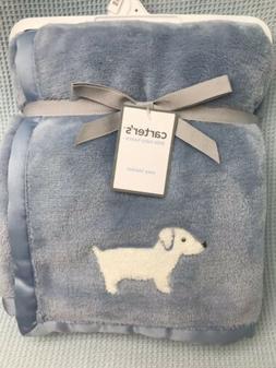 New Carters Baby Blanket Blue White Dog Puppy Dachshund Crib