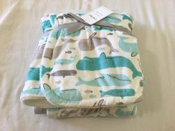 New Carter's Cozy Plush Blanket Whale Turquoise Gray White