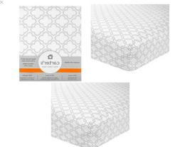 New Carter's Woven Fitted Crib Sheet Gray White Trellis Pa