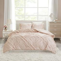 NEW! ~ CHIC COZY COTTAGE PINK RUFFLE TUFTED SHABBY ULTRA SOF