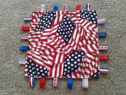 New Cotton and Minky United States Flag Taggie, Security Bla
