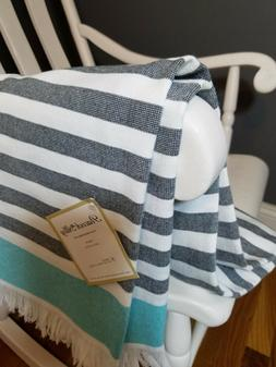 NEW Peacock Alley Cotton Multi Striped Light Weight Throw Bl