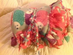 """New Cozy Fleece Baby Hedgehog Lap Blanket Approx. 56""""x 57"""" P"""