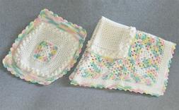 "NEW Handmade Crochet Baby Crib Blanket Pillowcase 35"" x 35"""