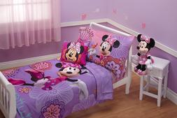 New Disney 4 Piece Minnies Fluttery Friends Toddler Bedding