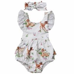 NEW Disney Bambi Baby Girls White Ruffle Romper Bodysuit & H