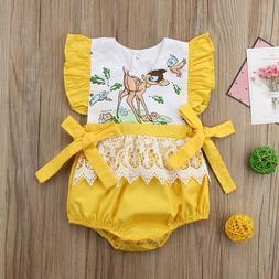 NEW Disney Bambi Baby Girls Yellow Ruffle Romper Bodysuit Ju