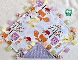 New Double Minky! Owl Deer Fox & Purple  Minky Taggie Tag Se