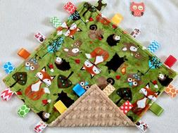 New Double Minky! Owl, Deer, Fox & Tan Minky Taggie Tag Secu
