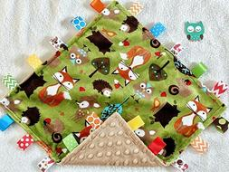 New Double Minky! Owl, Deer, Fox & Tan Minky Taggie Tag Secu