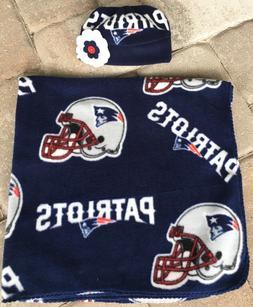 New England Patriots Fleece Baby Receiving Blanket Hat Gift