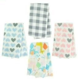 "Fleece Baby Blanket 30""x30"" - Blue Hearts, Pink Hearts, Gray"