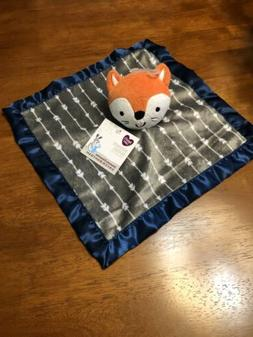 NEW Parents Choice Fox Buddy Baby Blanket Grey Navy Blue Sat