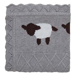 "NEW Elegant Baby Gray Lambie Blanket 30"" x 40"" cotton"