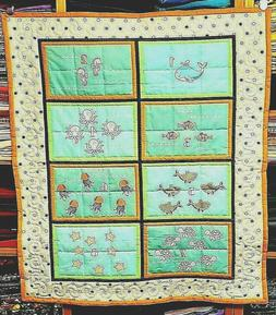 "New Hand Quilted "" Counting At The Aquarium"" Baby Blanket"