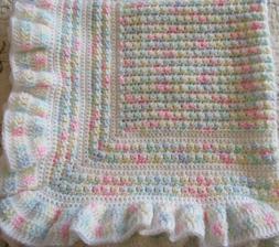 New Handmade Crochet Baby Blanket ~ Christening ~ Pastels wi