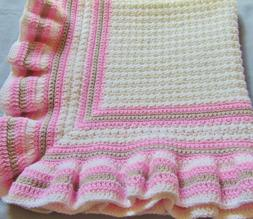 New Handmade Crochet Baby Blanket ~Christening~White with Pi