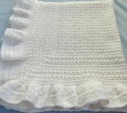 New Handmade Crochet Baby Blanket ~ Christening ~ White with
