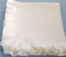 New Handmade Crochet Baby Blanket ~ Christening ~ White with
