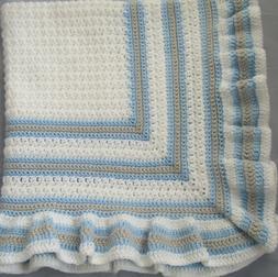 New Handmade Crochet Baby Blanket ~Christening~White with Bl