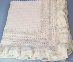 New Handmade Crochet Baby Blanket ~ Christening ~White with
