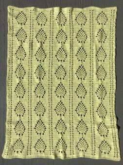 New Handmade Crocheted Baby Toddler Afghan Blanket Yellow Un
