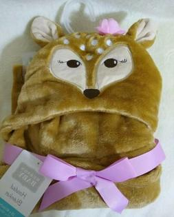 New HIDSON BABY HOODED BABY NURSERY BLANKET With Fox Brown C