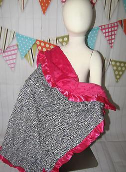 NEW knit minky  Nursery Baby receiving Blanket satin Ruffle
