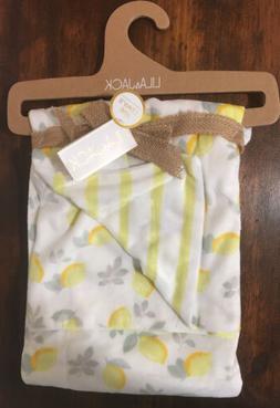 NEW LILA & JACK Baby Blanket Yellow Lemons Stripes Infant
