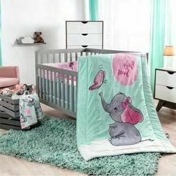 NEW BABY ELEPHANT PINK BABY GIRL NURSERY CRIB BEDDING SET 6