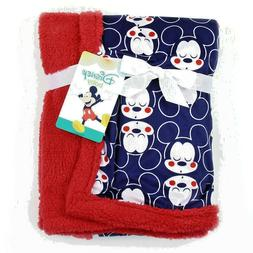 New! Mickey Mouse Soft Mink/Sherpa Baby Blanket. Navy & Red.