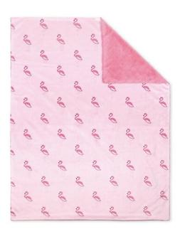 New The Peanut Shell Minki Velour Baby Blanket FLAMINGO Girl