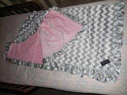 NEW  Minky Baby toddler Blanket pink Satin Ruffle CHEVRON Gi