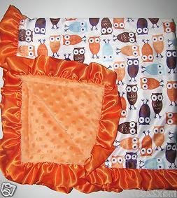 NEW Minky Dots Nursery Baby receiving Blanket orange Satin R