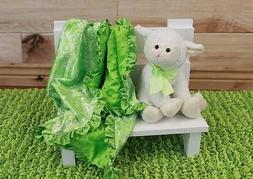 NEW minky Nursery Baby receiving Blanket Satin Ruffle lime g