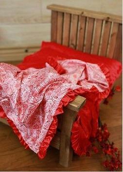 NEW minky Nursery Baby receiving Blanket Satin Ruffle red pa