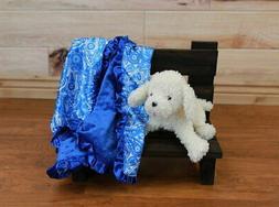 NEW minky Nursery Baby receiving Blanket Satin Ruffle blue b