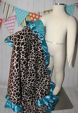 NEW minky rose fur Nursery Baby receiving Blanket Ruffle tur