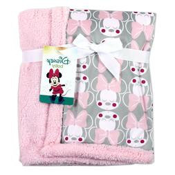 NEW Minnie Mouse Soft Mink/Sherpa Baby Blanket. Grey & Pink.