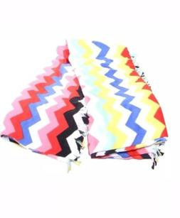 NEW Mainstays  Multi Color Fleece Throw Blanket With Fringe