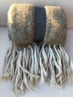 NEW Neutral Colors 50 X 60 Throw Blanket With Fringe
