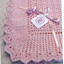 New Handmade Newborn Baby Girl Crochet Blanket, Pink, Ruffle