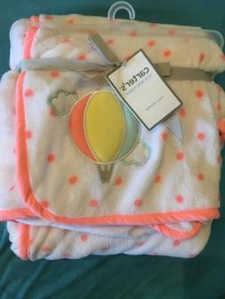 NEW/NWT-Carter's Cozy Blanket-Plush/Coral Polka Dots&Hot Air